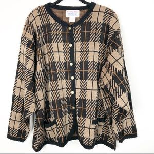 Tally Ho vintage plaid button front cardigan